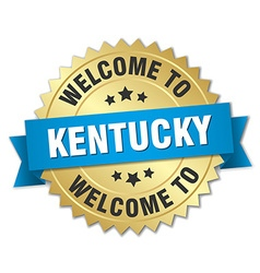 Kentucky 3d gold badge with blue ribbon vector