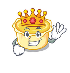 King egg tart mascot cartoon vector