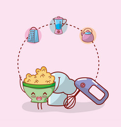 Kitchen items cartoon kawaii cartoon vector