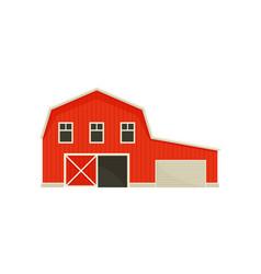 Large red barn near garage vector