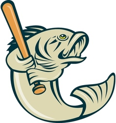 Largemouth bass fish batting vector