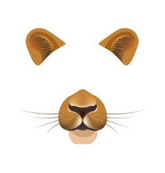 Lion animal face filter template video chat photo vector