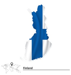 Map of Finland with flag vector