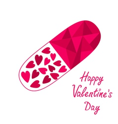 Medical pill with hearts Happy Valentines Day vector