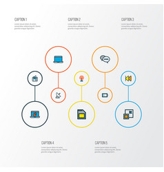 multimedia icons colored line set with comment vector image