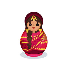 Nesting doll in traditional indian costume wooden vector