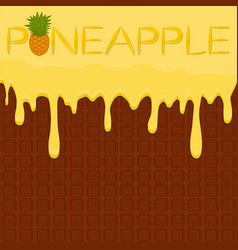 On theme falling runny pineapple drip at sugary vector