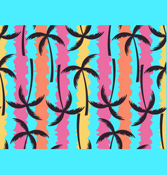 palm trees seamless pattern on a striped colorful vector image