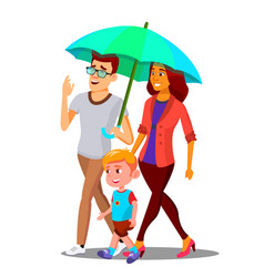 Parents in the rain holding an umbrella over child vector