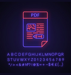 Pdf file neon light icon vector