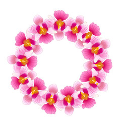 pink vanda miss joaquim orchid wreath vector image