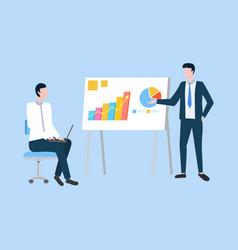 Presenter with presentation conference businessman vector