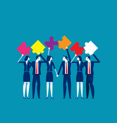 puzzle and teamwork concept business partnership vector image