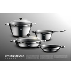 Realistic kitchen cookware set vector