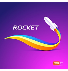 rocket fly takeoff space ship silhouette element vector image