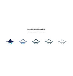 Samurai japanese hat icon in different style two vector