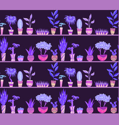 seamless neon texture with cartoon home flowers in vector image