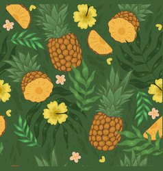 seamless pattern with pineapples flowers vector image