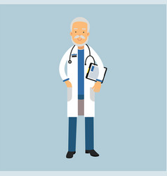 senior doctor character in uniform standing with vector image