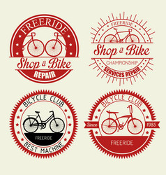 set bicycle shop emblem with repair service vector image