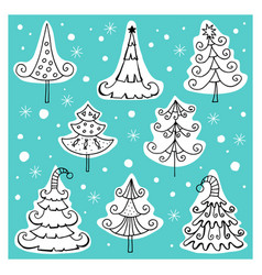 set of different icons of christmas trees vector image