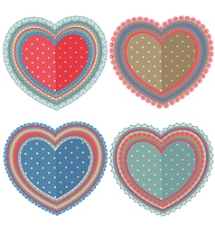 Set of isolated vintage hearts vector