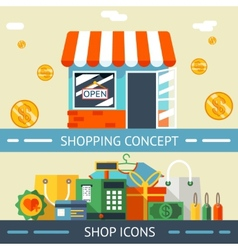 Shopping Concept and Icons Designs vector