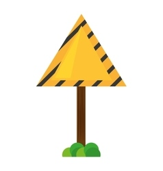 Sign road triangle caution yellow empty with grass vector