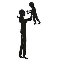silhouette mother holding baby vector image