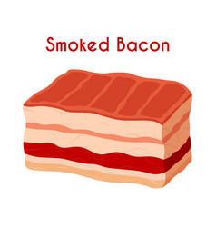 smoked bacon pork ham cartoon flat style vector image