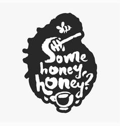 some honey honey in an ink blot vector image