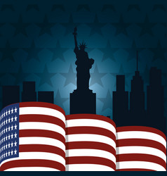 Statue liberty on american flag politics vector