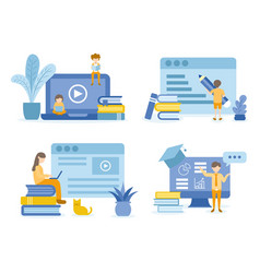 Student reading and learning online courses vector
