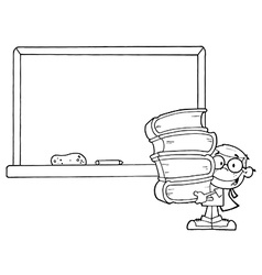 Student with books cartoon vector