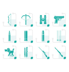 Stylized hunting and arms icons vector