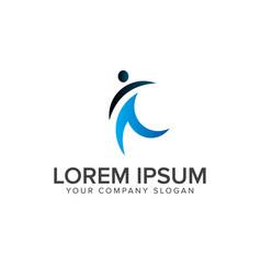 successful people logo design concept template vector image