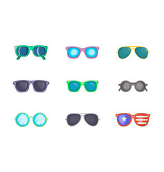 sunglasses icon set cartoon style vector image