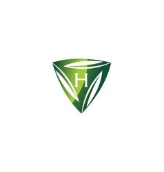 swoosh leaf dynamic rotation center letter h vector image