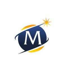 Swoosh logo letter m vector