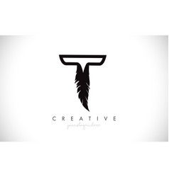 t feather letter logo icon design with feather vector image