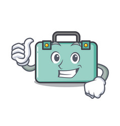 thumbs up suitcase character cartoon style vector image
