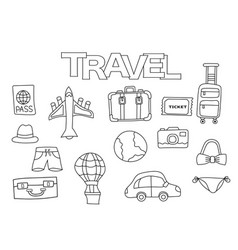 travel elements hand drawn set vector image