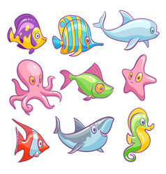 underwater animals cute sea tropical fishes funny vector image