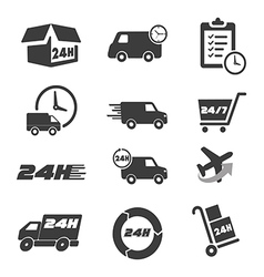 Various postage and support related icon set vector image