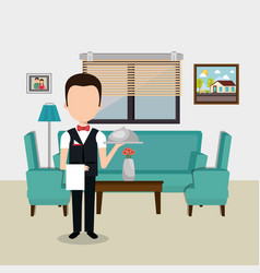 Waiter working in the hotel character vector