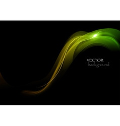 wave neon light dark curve green vector image