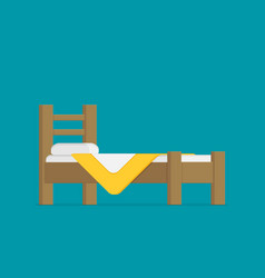 wooden bed for one person with a pillow and a vector image