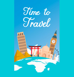 world tour vacation color flat flyer banner vector image