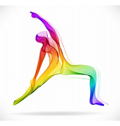 Yoga pose abstract color over white background vector