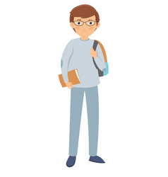 young male student wearing glasses vector image